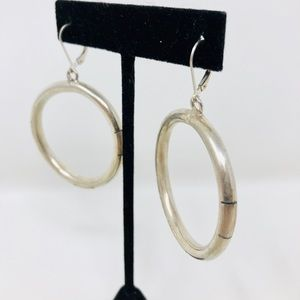 Jewelry - Large vtg sterling silver textured hoops, 20.1g